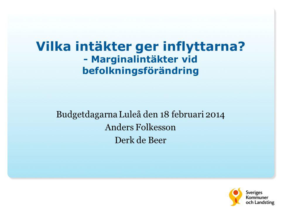 Vilka intäkter ger inflyttarna? - Marginalintäkter vid befolkningsförändring Budgetdagarna Luleå den 18 februari 2014 Anders Folkesson Derk de Beer