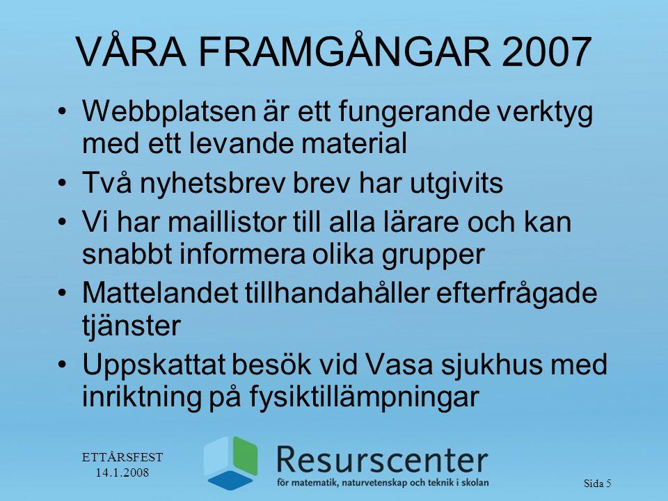 ETTÅRSFEST 14.1.2008 Sida 6 VÅRA FRAMGÅNGAR 2007 Studiecirklar har genomförs på alla verksamhetsorter Uppskattade spelkvällar i Öster-botten Klassbesök vid forskningslab i Åbo Kontakter till ämneslärarstuderande