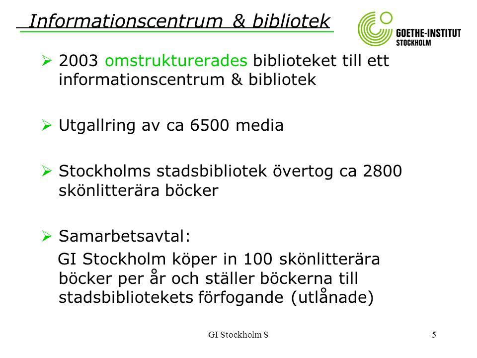 GI Stockholm S5  2003 omstrukturerades biblioteket till ett informationscentrum & bibliotek  Utgallring av ca 6500 media  Stockholms stadsbibliotek