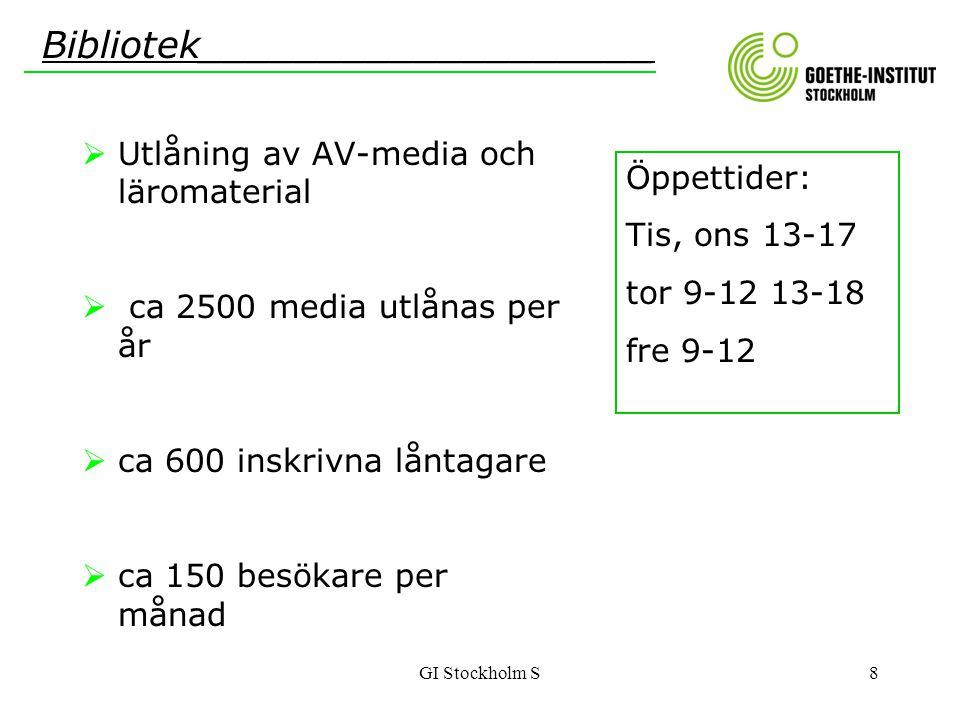GI Stockholm S8  Utlåning av AV-media och läromaterial  ca 2500 media utlånas per år  ca 600 inskrivna låntagare  ca 150 besökare per månad Biblio