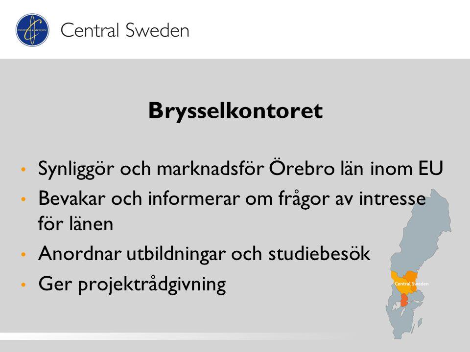 Brysselkontoret Synliggör och marknadsför Örebro län inom EU Bevakar och informerar om frågor av intresse för länen Anordnar utbildningar och studiebesök Ger projektrådgivning