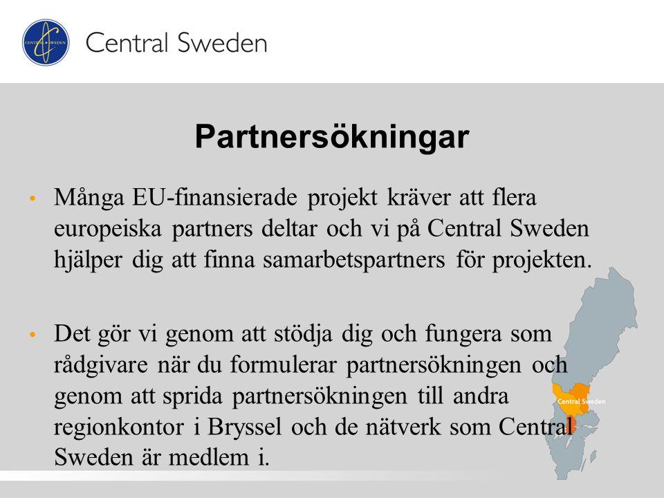 Partnersökningar Många EU-finansierade projekt kräver att flera europeiska partners deltar och vi på Central Sweden hjälper dig att finna samarbetspartners för projekten.