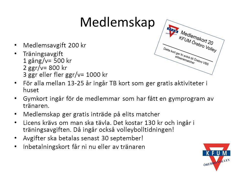Medlemskap Medlemsavgift 200 kr Träningsavgift 1 gång/v= 500 kr 2 ggr/v= 800 kr 3 ggr eller fler ggr/v= 1000 kr För alla mellan 13-25 år ingår TB kort