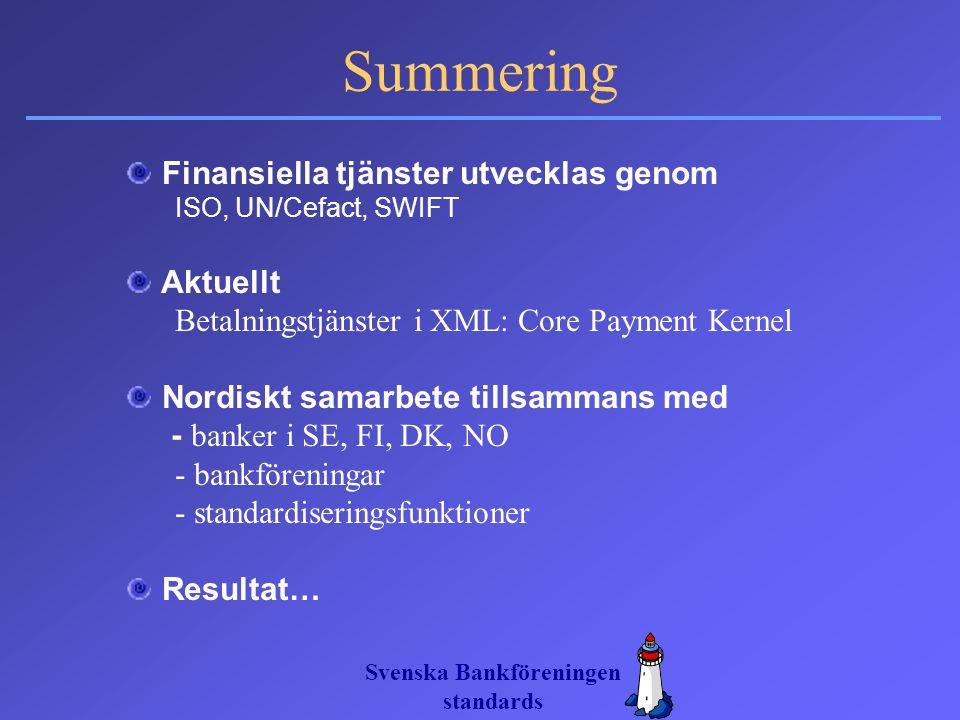 Svenska Bankföreningen standards Summering Finansiella tjänster utvecklas genom ISO, UN/Cefact, SWIFT Aktuellt Betalningstjänster i XML: Core Payment