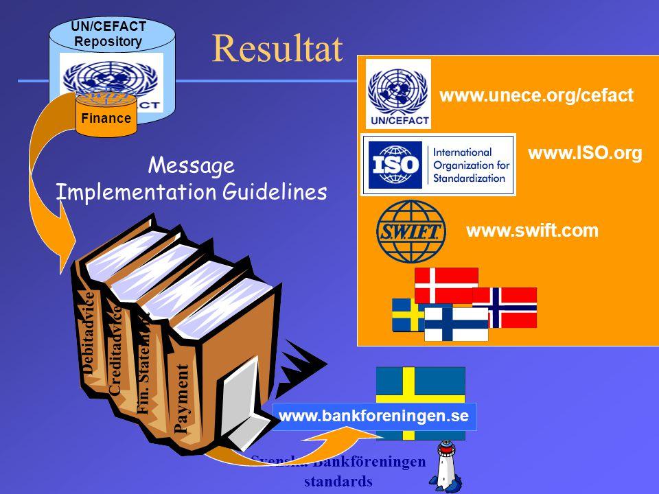 Svenska Bankföreningen standards Message Implementation Guidelines www.unece.org/cefact www.ISO.org www.swift.com UN/CEFACT Repository www.bankforenin