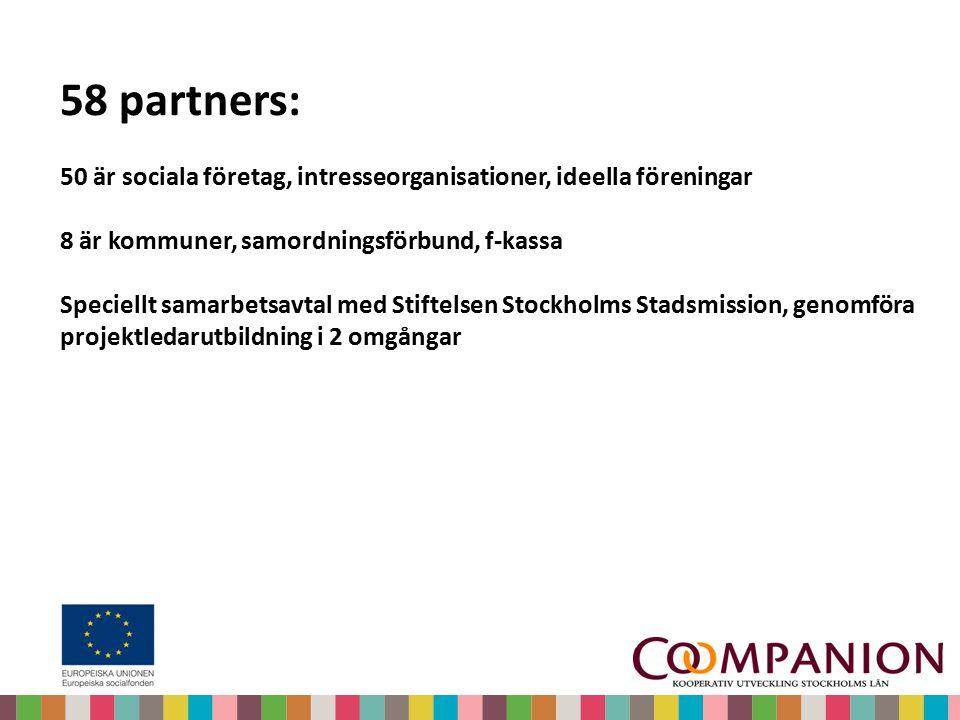 58 partners: 50 är sociala företag, intresseorganisationer, ideella föreningar 8 är kommuner, samordningsförbund, f-kassa Speciellt samarbetsavtal med