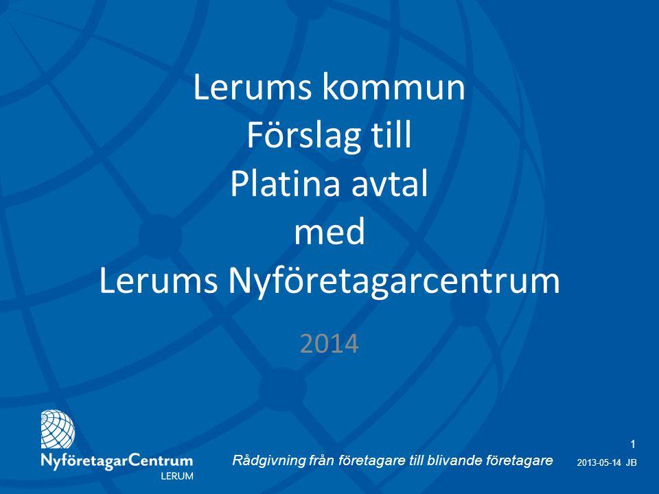Rådgivning från företagare till blivande företagare 1 2013-05-14 JB Lerums kommun Förslag till Platina avtal med Lerums Nyföretagarcentrum 2014