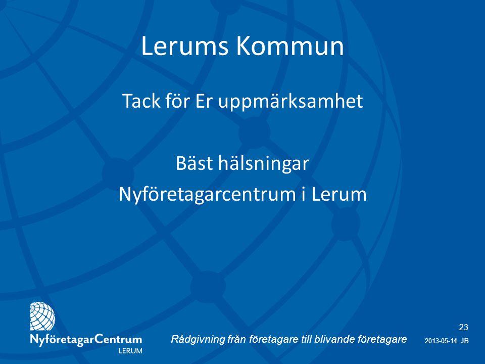 Rådgivning från företagare till blivande företagare 23 2013-05-14 JB Lerums Kommun Tack för Er uppmärksamhet Bäst hälsningar Nyföretagarcentrum i Lerum