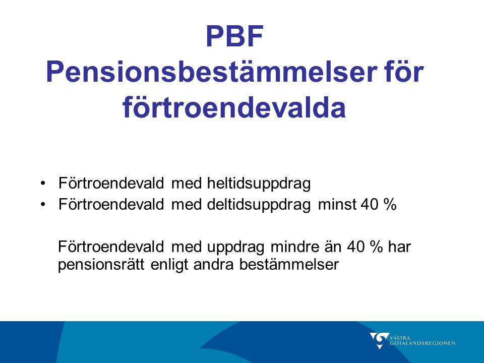 PBF Pensionsbestämmelser för förtroendevalda Förtroendevald med heltidsuppdrag Förtroendevald med deltidsuppdrag minst 40 % Förtroendevald med uppdrag mindre än 40 % har pensionsrätt enligt andra bestämmelser