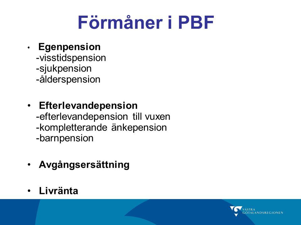 Förmåner i PBF Egenpension -visstidspension -sjukpension -ålderspension Efterlevandepension -efterlevandepension till vuxen -kompletterande änkepension -barnpension Avgångsersättning Livränta