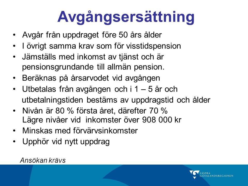 Avgångsersättning Avgår från uppdraget före 50 års ålder I övrigt samma krav som för visstidspension Jämställs med inkomst av tjänst och är pensionsgrundande till allmän pension.