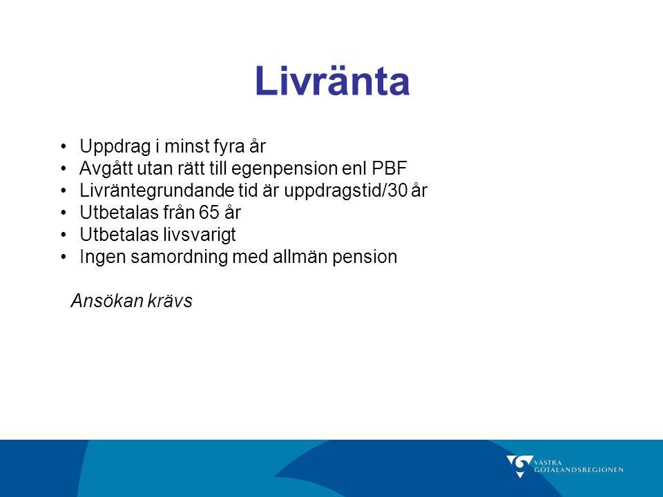Livränta Uppdrag i minst fyra år Avgått utan rätt till egenpension enl PBF Livräntegrundande tid är uppdragstid/30 år Utbetalas från 65 år Utbetalas livsvarigt Ingen samordning med allmän pension Ansökan krävs