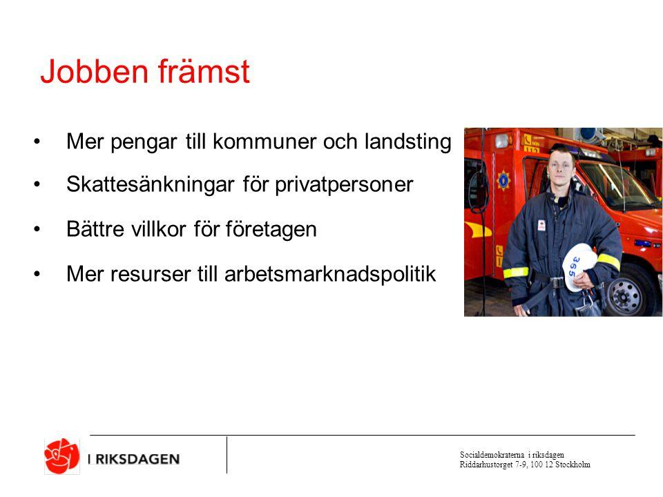 Socialdemokraterna i riksdagen Riddarhustorget 7-9, 100 12 Stockholm Sverige har hög sysselsättning Sysselsättning i procent av befolkningen 2003 Källa: OECD Employment Outlook 2004