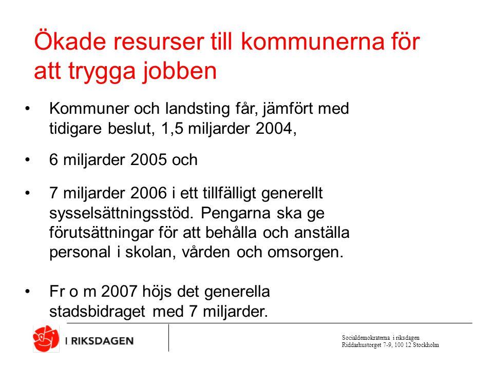 Socialdemokraterna i riksdagen Riddarhustorget 7-9, 100 12 Stockholm Socialdemokraternas politik för solidaritet och rättvisa I moderaternas Sverige ställs sjuka och arbetslösa utanför A-kassan 80 % Ersättning i aktivitetsgarantin 80 % Rätt till aktivitetsstöd till 65 år Egenavgift till a-kassan ca 10 % Avdragsrätt i deklarationen för fackföreningsavgiften A-kassan 75 % i 100 dagar sedan 65 % Ersättningen sänks till 65 % Aktivitetsstöd till 61 år Egenavgiften höjs till 30 % Avdragsrätten slopas