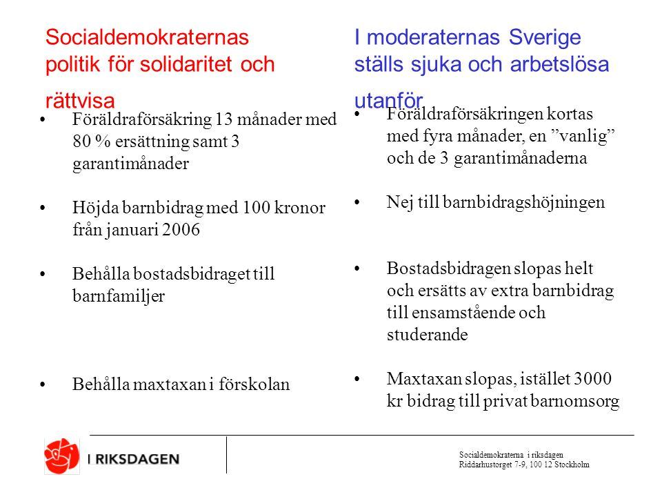 Socialdemokraterna i riksdagen Riddarhustorget 7-9, 100 12 Stockholm Socialdemokraternas politik för solidaritet och rättvisa I moderaternas Sverige ställs sjuka och arbetslösa utanför Sjukpenning 80 % Sjukersättning (förtidspension) till 65 år En karensdag i sjukförsäkringen Högkostnadsskyddet i sjukvården kvar på 900 kr Sjukpenning 75 % i 6 månader sedan 65 % Den som fyllt 61 år tvingas ta ut ålderspension istället för sjukersättning Två karensdagar Högkostnadsskyddet höjs till 1500 kr