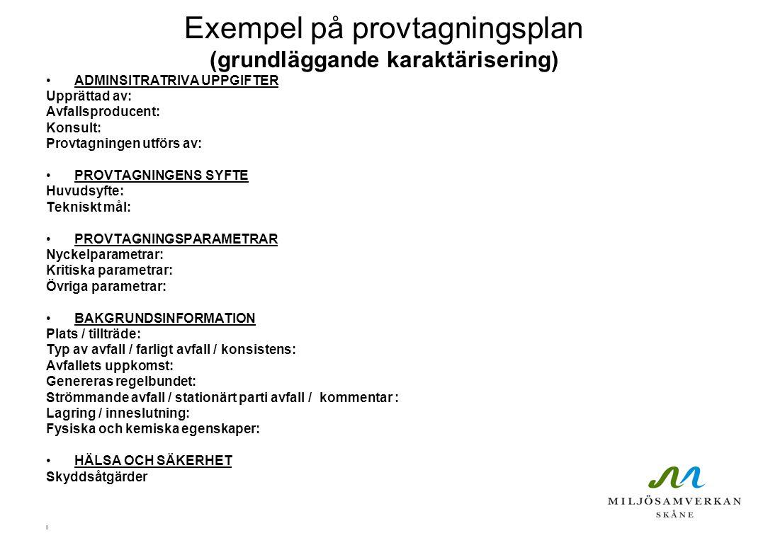 Exempel på provtagningsplan- fortsättning (grundläggande karaktärisering) PROVTAGNINGSSTRATEGI Mängd avfall som provtagningen skall representera: Typ av prov: Karakteriseringsskala: Strategi / motivering / säkerhet i medelvärde: Provtagningsmönster: Mängd avfall i del-/samlingsprov och antal prov: Provtagningspunkt: FÖRBEHANDLING AV AVFALLET Kommentar: PROVTAGNINGSTEKNIK Teknik / utrustning: Mätning i fält: PROVHANTERING Chain of Custody: Provbehållare: Laboratorium: DOKUMENTATION