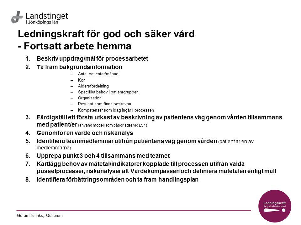 Göran Henriks, Qulturum Värdekompassen - idé Patienterfarenheter - Delaktighet - Trygghet - Bemötande - Tillgänglighet Funktionella resultat - Fysiskt - Psykiskt - Socialt Resurser - Kompetenser - Utredningskostnad er - Vårdtider - Antal besök Kliniska resultat - Ledtider - Komplikationer - Följsamhet till riktlinjer/guideli nes