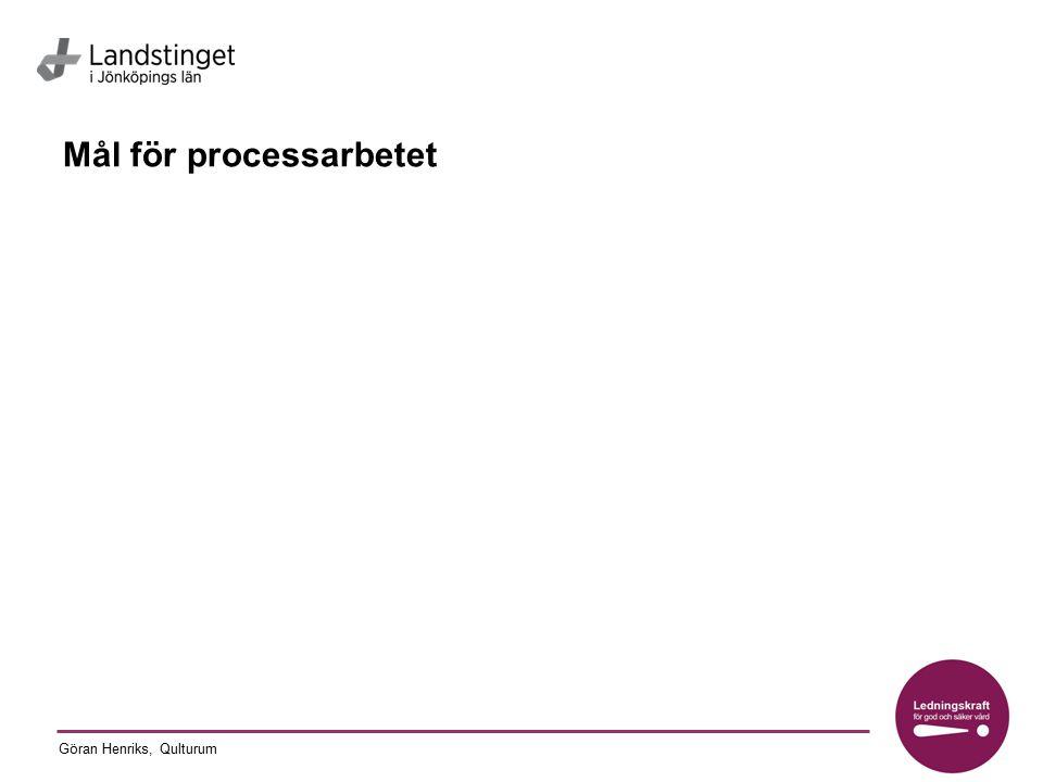 Göran Henriks, Qulturum Bakgrundsinformation om processen Antal patienter/månad Kön Åldersfördelning Specifika behov i patientgruppen Organisation Risker som är identifierade Resultat som finns beskrivna Kompetenser som idag ingår i processen