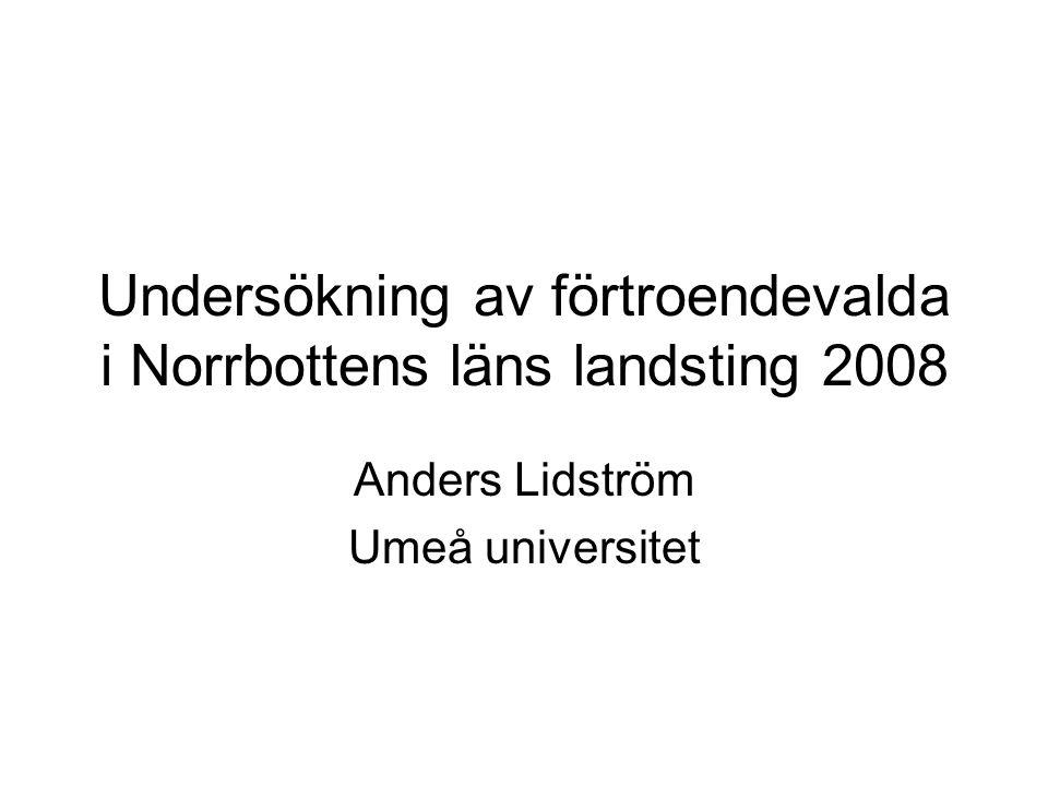 Undersökning av förtroendevalda i Norrbottens läns landsting 2008 Anders Lidström Umeå universitet