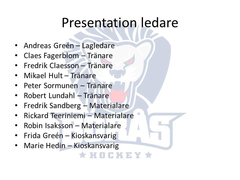 Presentation ledare Andreas Greén – Lagledare Claes Fagerblom – Tränare Fredrik Claesson – Tränare Mikael Hult – Tränare Peter Sormunen – Tränare Robe