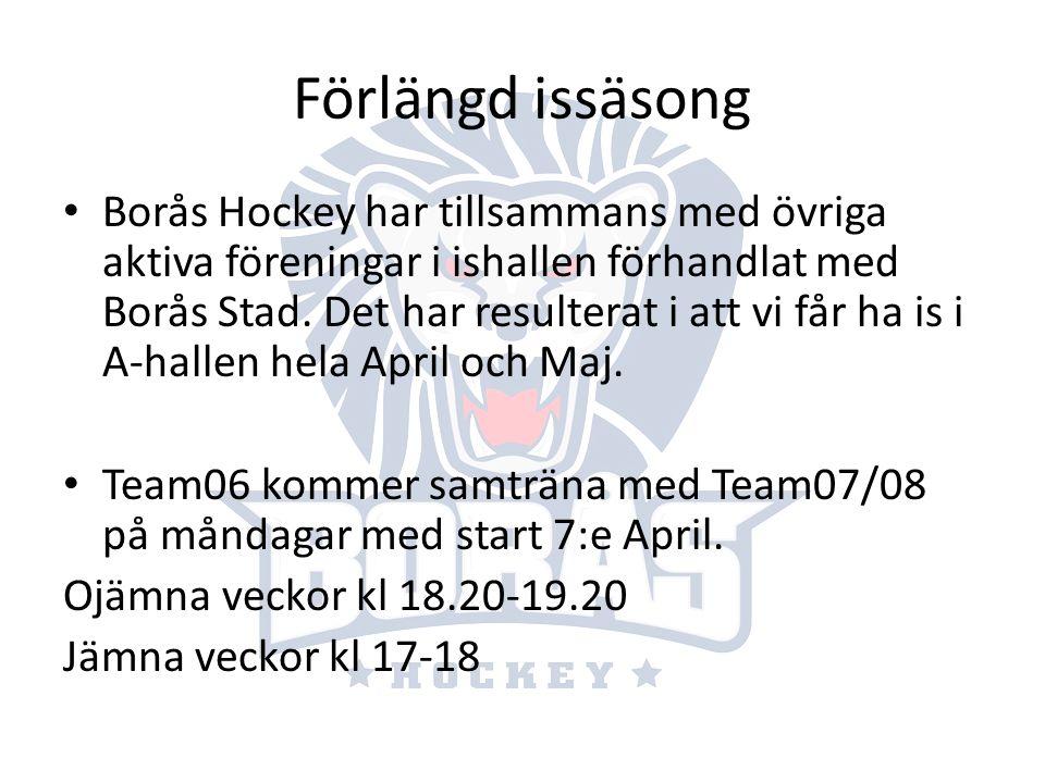 Förlängd issäsong Borås Hockey har tillsammans med övriga aktiva föreningar i ishallen förhandlat med Borås Stad. Det har resulterat i att vi får ha i