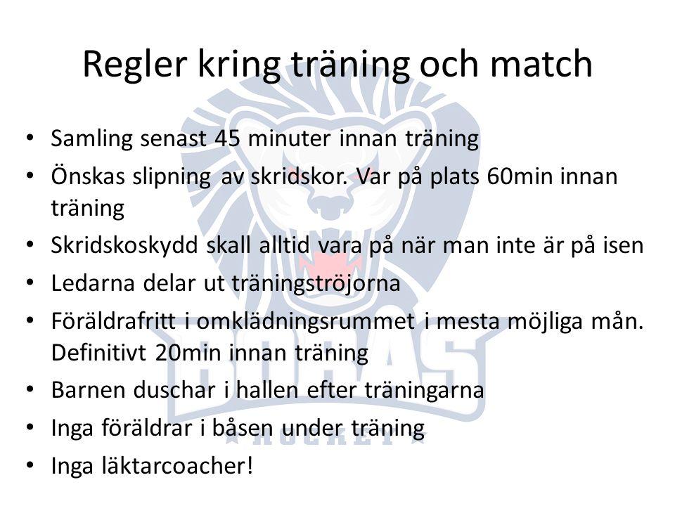 Regler kring träning och match Samling senast 45 minuter innan träning Önskas slipning av skridskor. Var på plats 60min innan träning Skridskoskydd sk