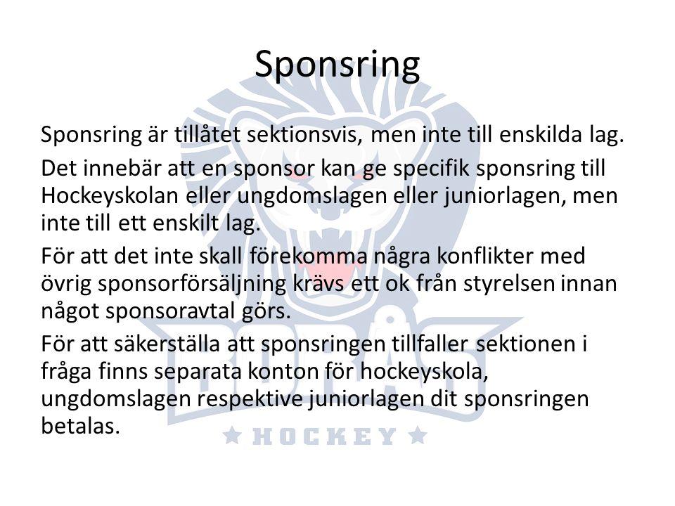 Sponsring Sponsring är tillåtet sektionsvis, men inte till enskilda lag. Det innebär att en sponsor kan ge specifik sponsring till Hockeyskolan eller