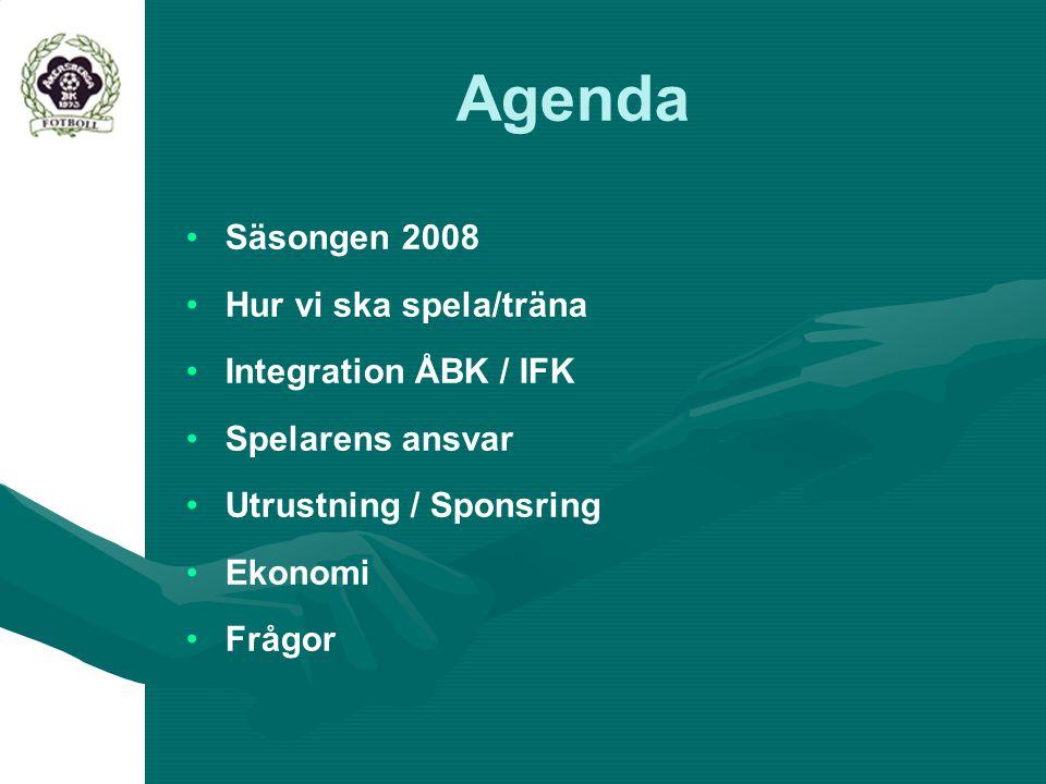 Agenda Säsongen 2008 Hur vi ska spela/träna Integration ÅBK / IFK Spelarens ansvar Utrustning / Sponsring Ekonomi Frågor