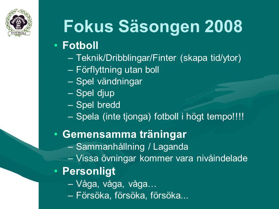 Fokus Säsongen 2008 Fotboll – –Teknik/Dribblingar/Finter (skapa tid/ytor) – –Förflyttning utan boll – –Spel vändningar – –Spel djup – –Spel bredd – –S