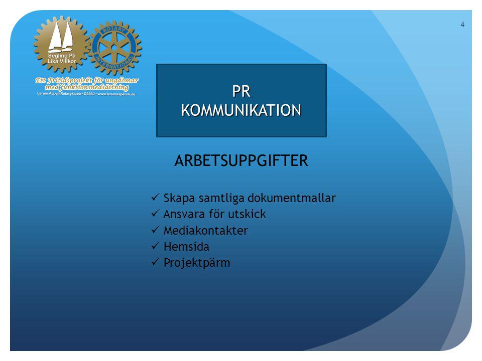 4 PRKOMMUNIKATION ARBETSUPPGIFTER Skapa samtliga dokumentmallar Ansvara för utskick Mediakontakter Hemsida Projektpärm