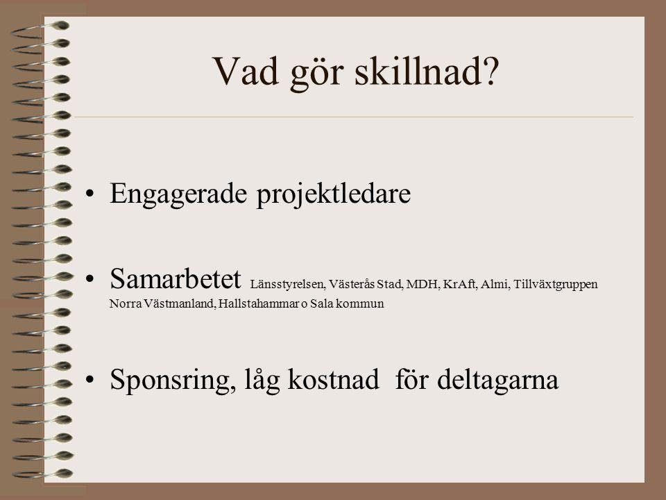 Vad gör skillnad? Engagerade projektledare Samarbetet Länsstyrelsen, Västerås Stad, MDH, KrAft, Almi, Tillväxtgruppen Norra Västmanland, Hallstahammar