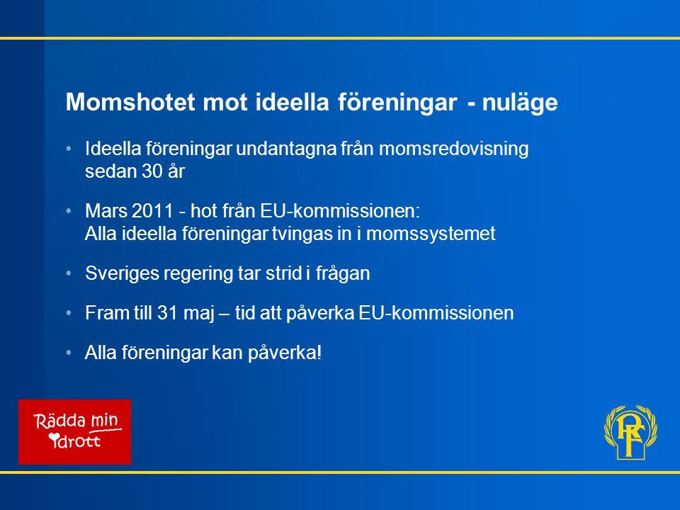 Momshotet mot ideella föreningar - nuläge Ideella föreningar undantagna från momsredovisning sedan 30 år Mars 2011 - hot från EU-kommissionen: Alla id