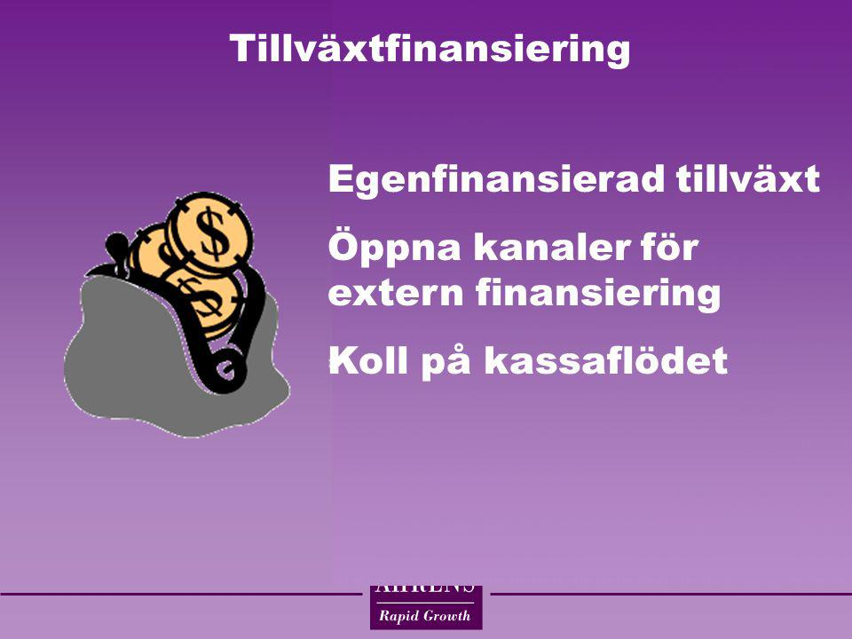 Tillväxtfinansiering Egenfinansierad tillväxt Öppna kanaler för extern finansiering Koll på kassaflödet