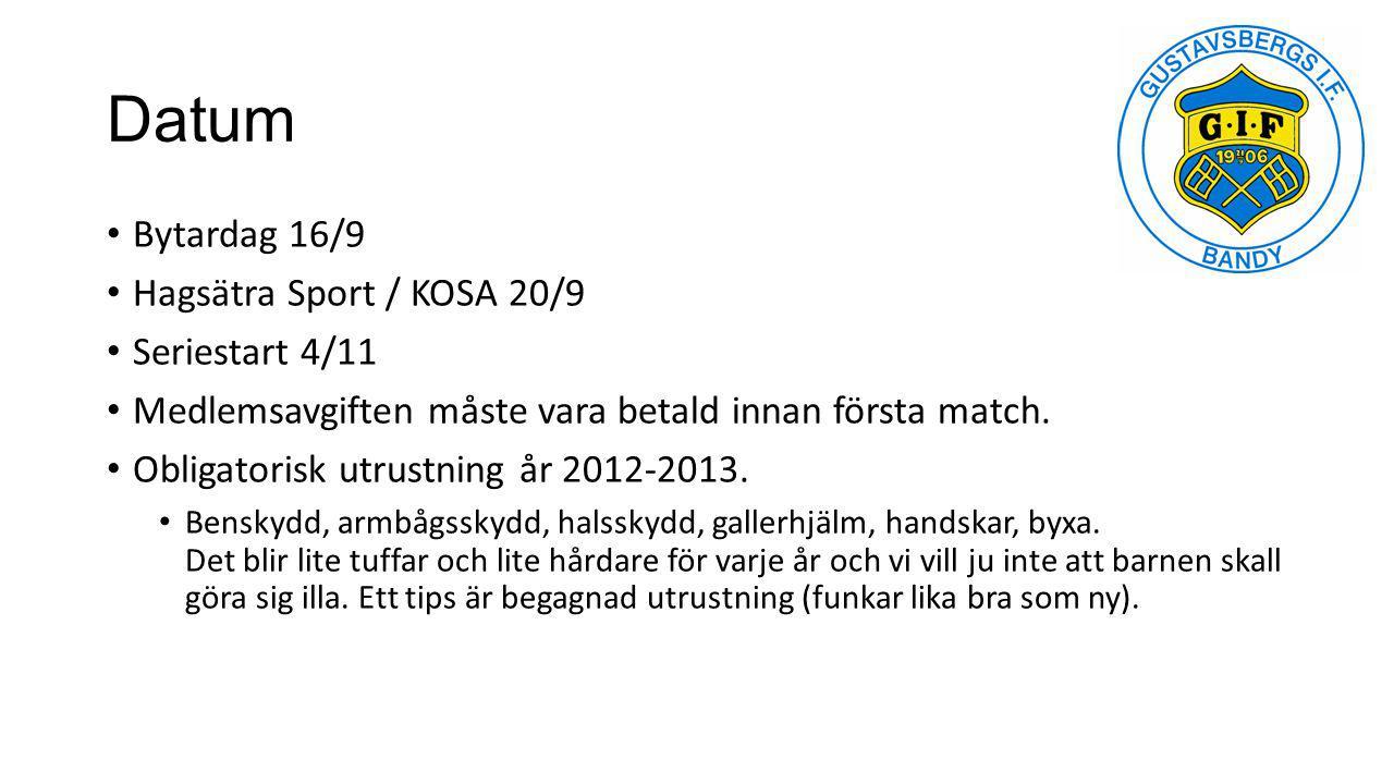 Datum Bytardag 16/9 Hagsätra Sport / KOSA 20/9 Seriestart 4/11 Medlemsavgiften måste vara betald innan första match. Obligatorisk utrustning år 2012-2