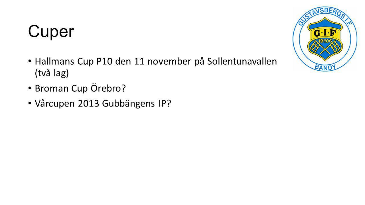 Cuper Hallmans Cup P10 den 11 november på Sollentunavallen (två lag) Broman Cup Örebro? Vårcupen 2013 Gubbängens IP?