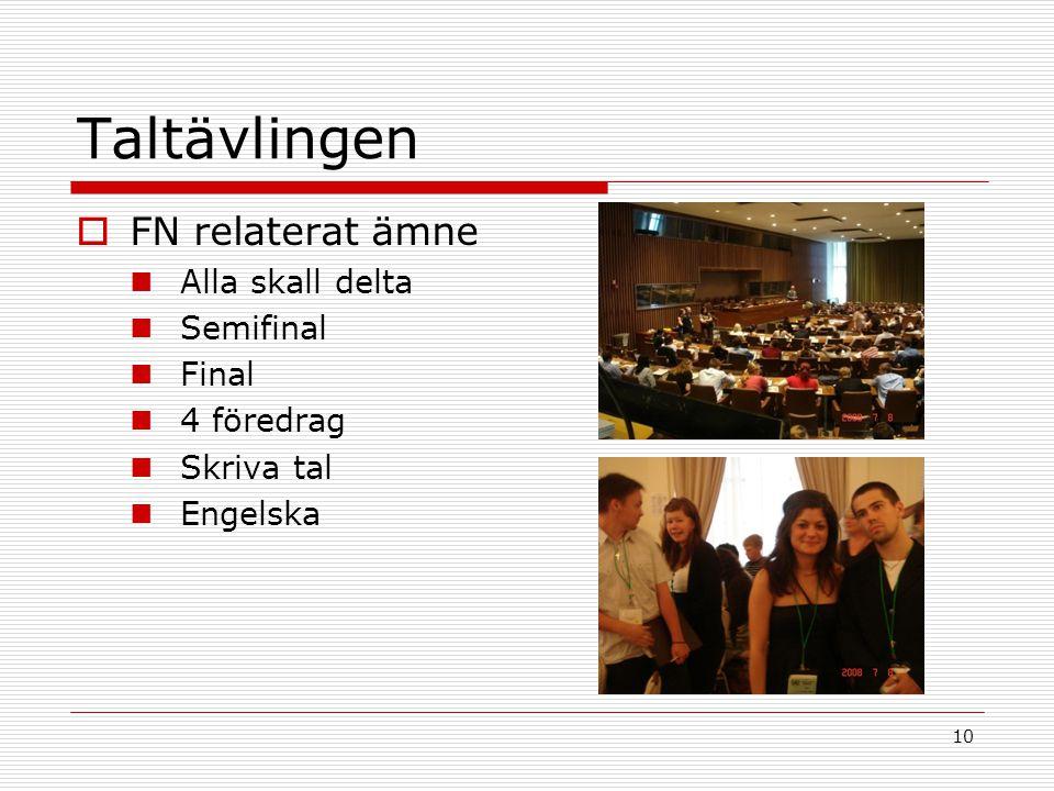 10 Taltävlingen  FN relaterat ämne Alla skall delta Semifinal Final 4 föredrag Skriva tal Engelska