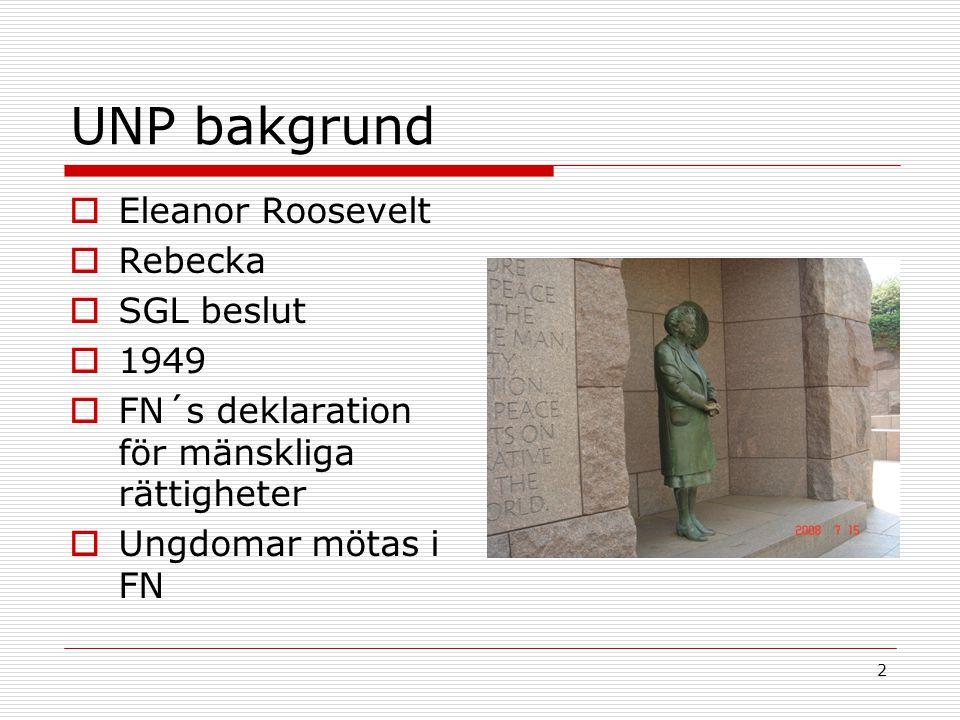 2 UNP bakgrund  Eleanor Roosevelt  Rebecka  SGL beslut  1949  FN´s deklaration för mänskliga rättigheter  Ungdomar mötas i FN