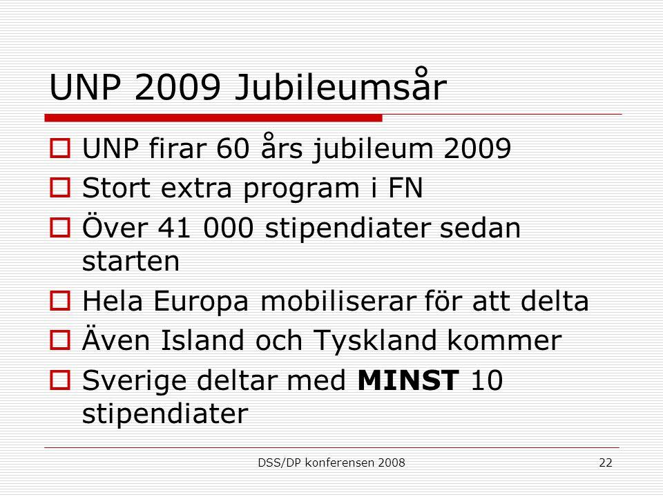 DSS/DP konferensen 200822 UNP 2009 Jubileumsår  UNP firar 60 års jubileum 2009  Stort extra program i FN  Över 41 000 stipendiater sedan starten  Hela Europa mobiliserar för att delta  Även Island och Tyskland kommer  Sverige deltar med MINST 10 stipendiater