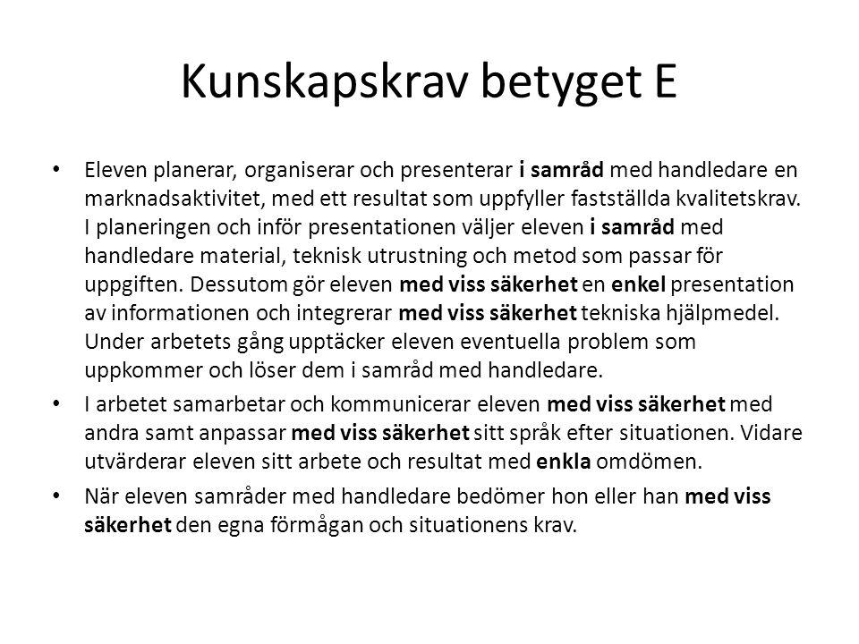 Kunskapskrav betyget E Eleven planerar, organiserar och presenterar i samråd med handledare en marknadsaktivitet, med ett resultat som uppfyller fasts