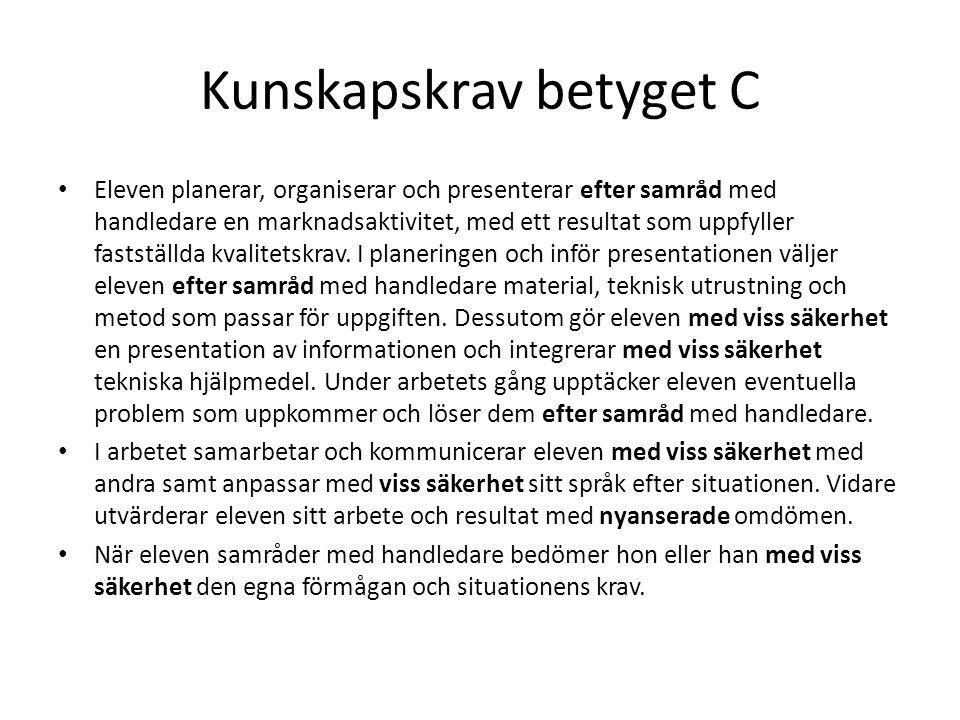 Kunskapskrav betyget C Eleven planerar, organiserar och presenterar efter samråd med handledare en marknadsaktivitet, med ett resultat som uppfyller f