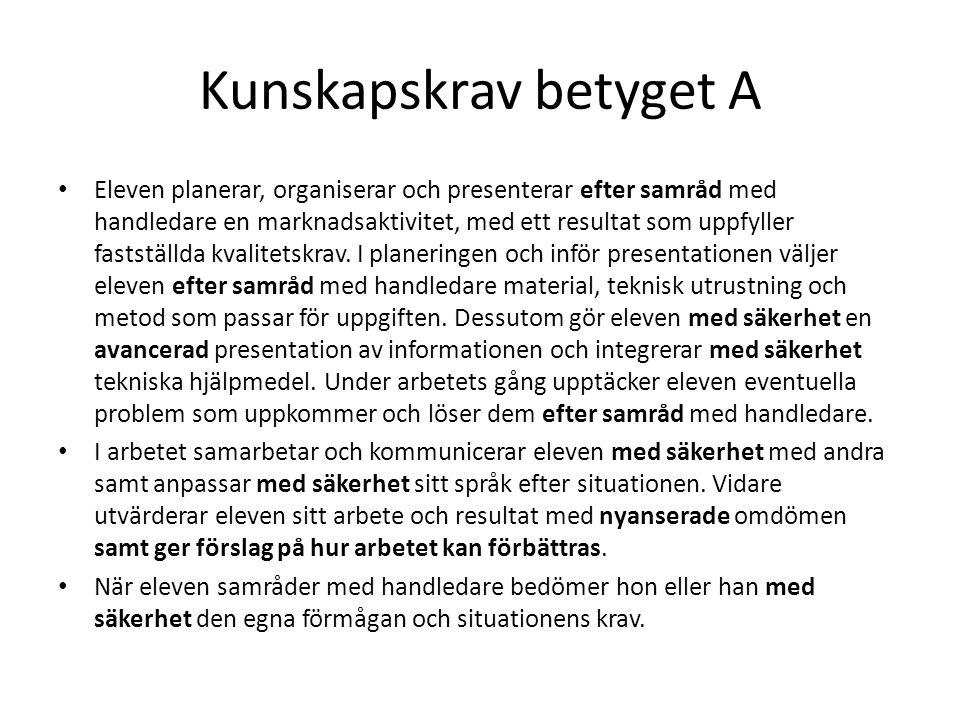 Kunskapskrav betyget A Eleven planerar, organiserar och presenterar efter samråd med handledare en marknadsaktivitet, med ett resultat som uppfyller f