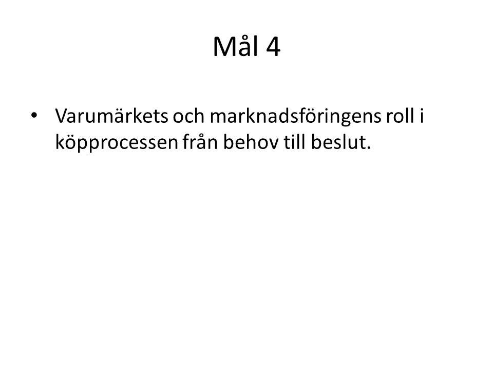 Mål 4 Varumärkets och marknadsföringens roll i köpprocessen från behov till beslut.