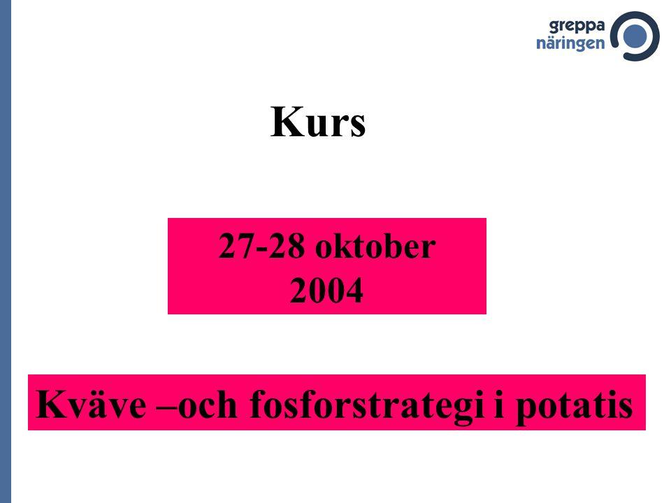 27-28 oktober 2004 Kväve –och fosforstrategi i potatis Kurs