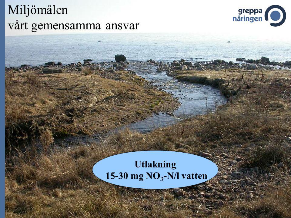 Miljömålen vårt gemensamma ansvar Utlakning 15-30 mg NO 3 -N/l vatten