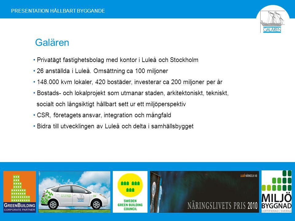 Galären PRESENTATION HÅLLBART BYGGANDE Privatägt fastighetsbolag med kontor i Luleå och Stockholm 26 anställda i Luleå.
