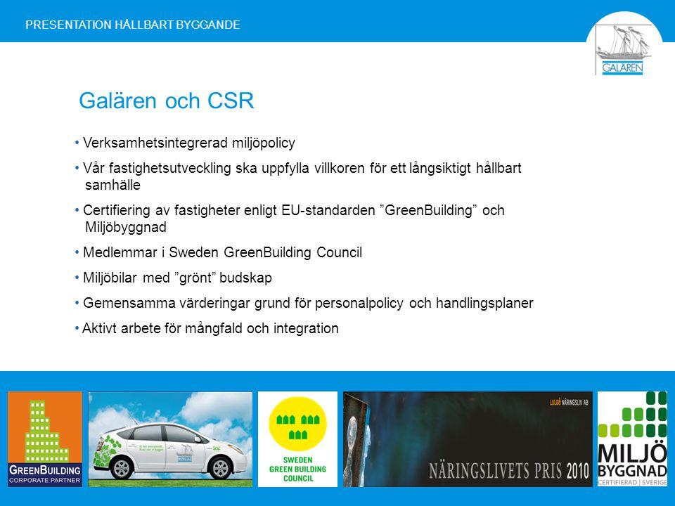 Galären och CSR Verksamhetsintegrerad miljöpolicy Vår fastighetsutveckling ska uppfylla villkoren för ett långsiktigt hållbart samhälle Certifiering av fastigheter enligt EU-standarden GreenBuilding och Miljöbyggnad Medlemmar i Sweden GreenBuilding Council Miljöbilar med grönt budskap Gemensamma värderingar grund för personalpolicy och handlingsplaner Aktivt arbete för mångfald och integration PRESENTATION HÅLLBART BYGGANDE