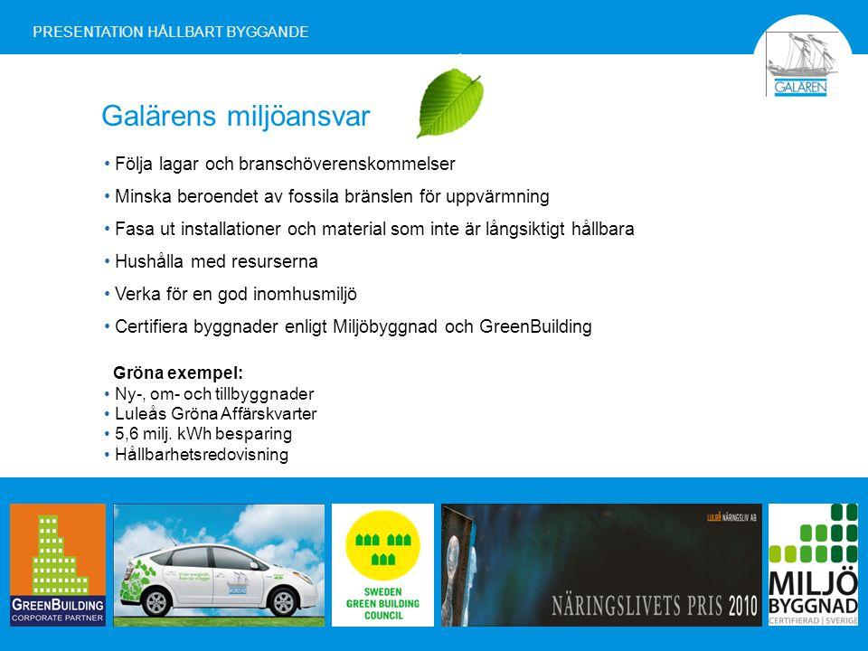 Galärens miljöansvar PRESENTATION HÅLLBART BYGGANDE Följa lagar och branschöverenskommelser Minska beroendet av fossila bränslen för uppvärmning Fasa ut installationer och material som inte är långsiktigt hållbara Hushålla med resurserna Verka för en god inomhusmiljö Certifiera byggnader enligt Miljöbyggnad och GreenBuilding Gröna exempel: Ny-, om- och tillbyggnader Luleås Gröna Affärskvarter 5,6 milj.