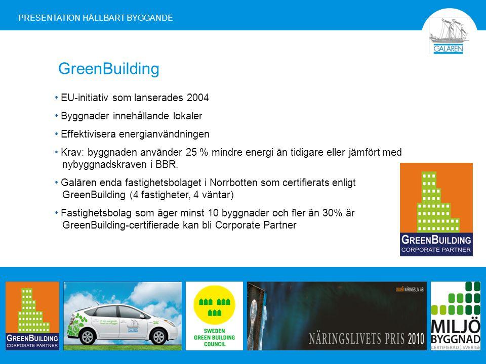 GreenBuilding EU-initiativ som lanserades 2004 Byggnader innehållande lokaler Effektivisera energianvändningen Krav: byggnaden använder 25 % mindre energi än tidigare eller jämfört med nybyggnadskraven i BBR.