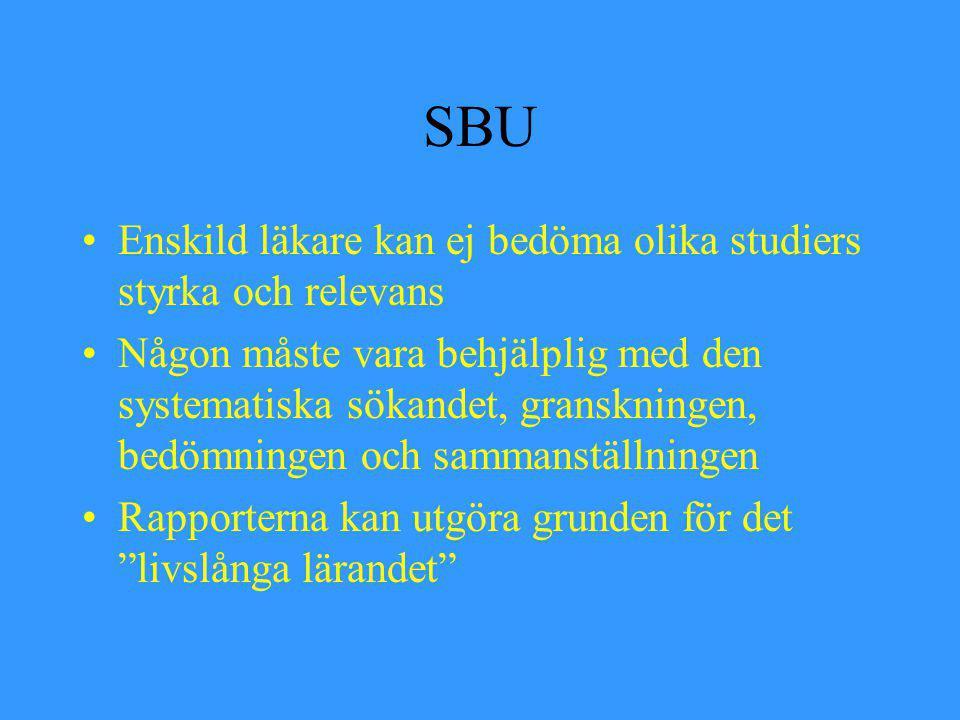 SBU Enskild läkare kan ej bedöma olika studiers styrka och relevans Någon måste vara behjälplig med den systematiska sökandet, granskningen, bedömning