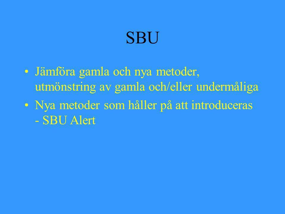SBU Jämföra gamla och nya metoder, utmönstring av gamla och/eller undermåliga Nya metoder som håller på att introduceras - SBU Alert
